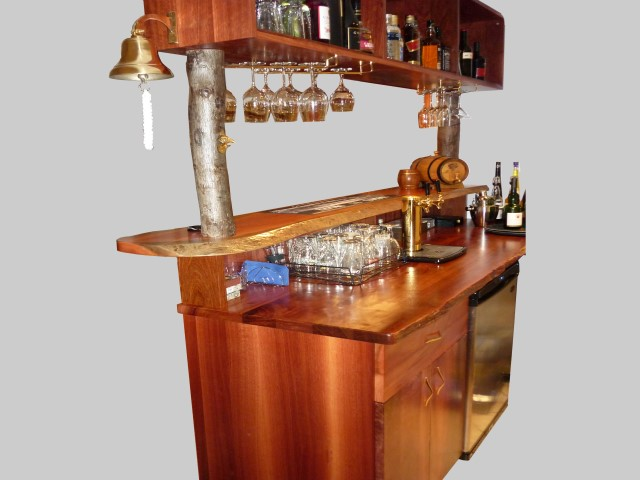 Jarrah bar, shelves and cabinets