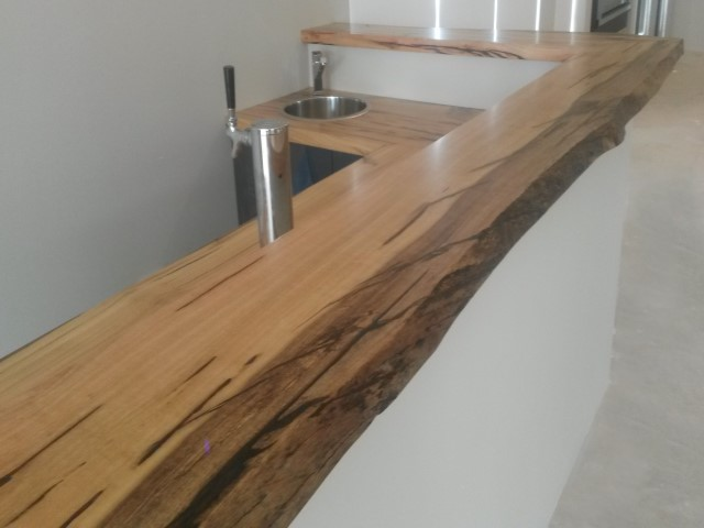 Natural edge marri bar top