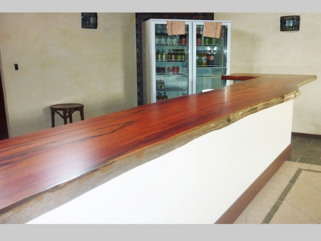 Jarrah bar top with natural edges for a restaurant