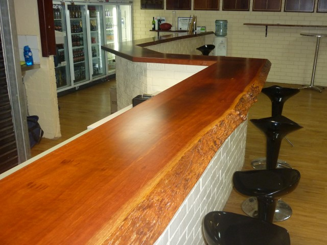 Jarrah natural edge bar top for Roleystone Football Club