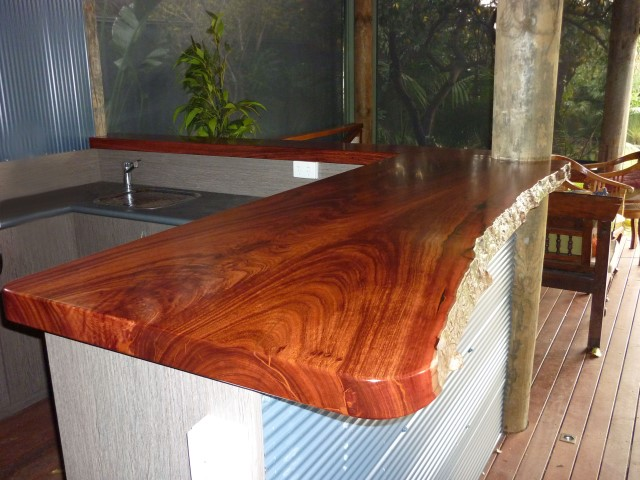 Exterior jarrah bar top with natural edges