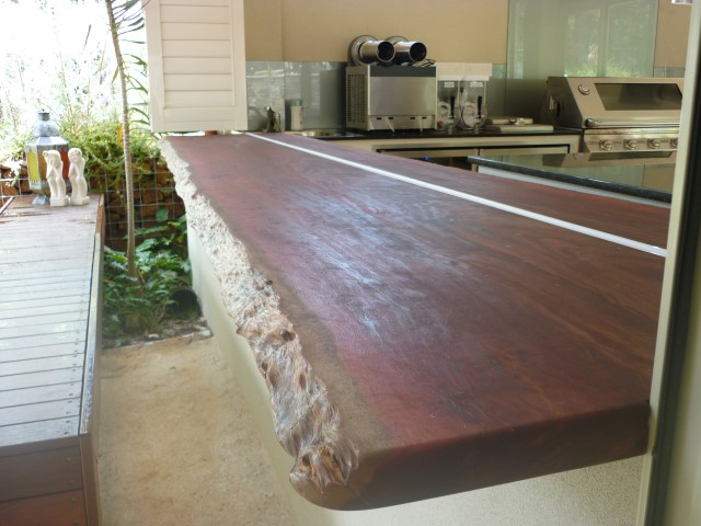 Exterior jarrah servery with natural edges