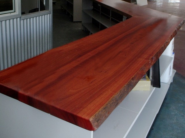 Jarrah counter in mower shop