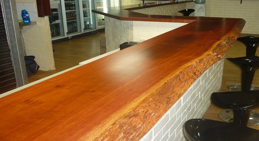 Jarrah natural edge bar top for football club