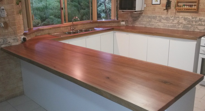Jarrah kitchen tops with natural edge