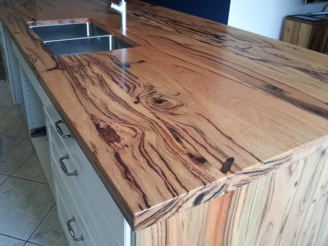 Marri grain features in island kitchen bench