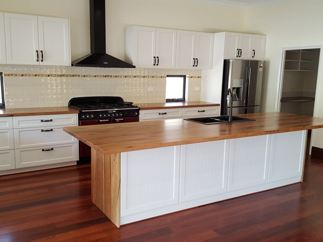 Marri kitchen bench tops, made for Master Cabinets