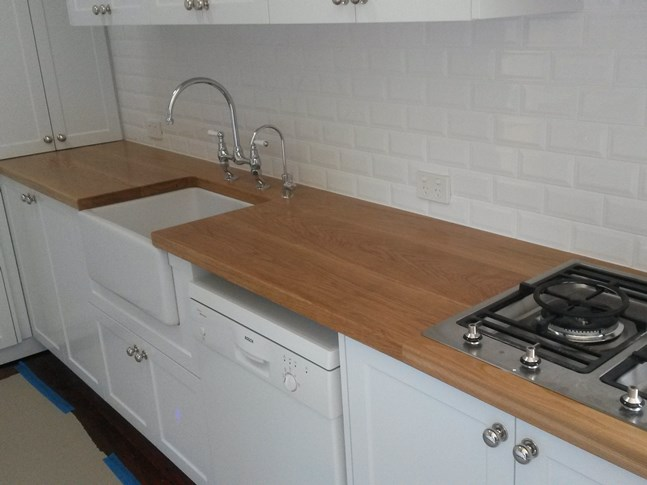 American oak kitchen bench tops, made for Master Cabinets