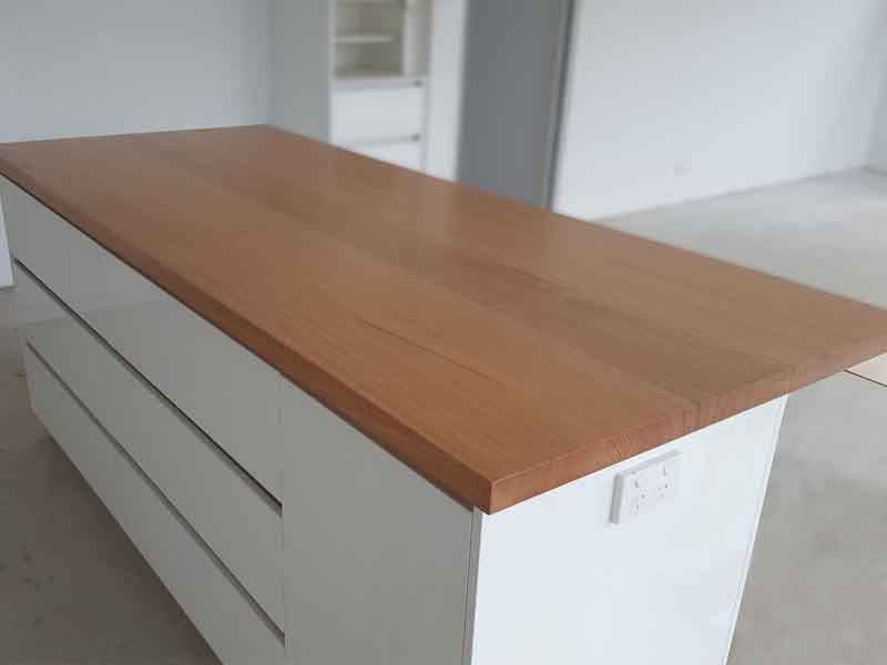 Marri kitchen island bench top with natural edges