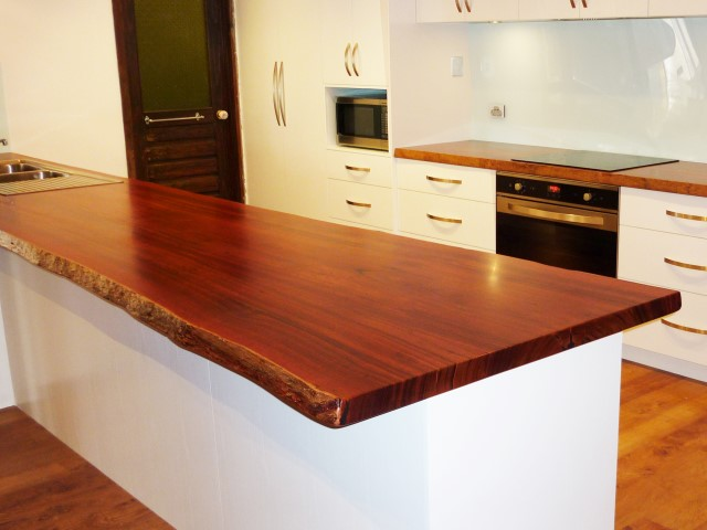 Jarrah kitchen bench tops with natural edges