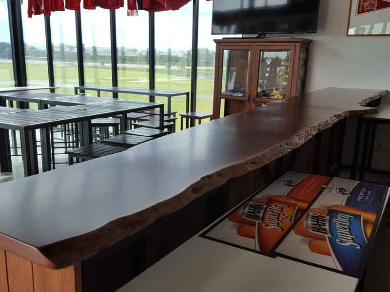 Jarrah bar top with natural edges, made for Smokey's Restaurant, Northbridge