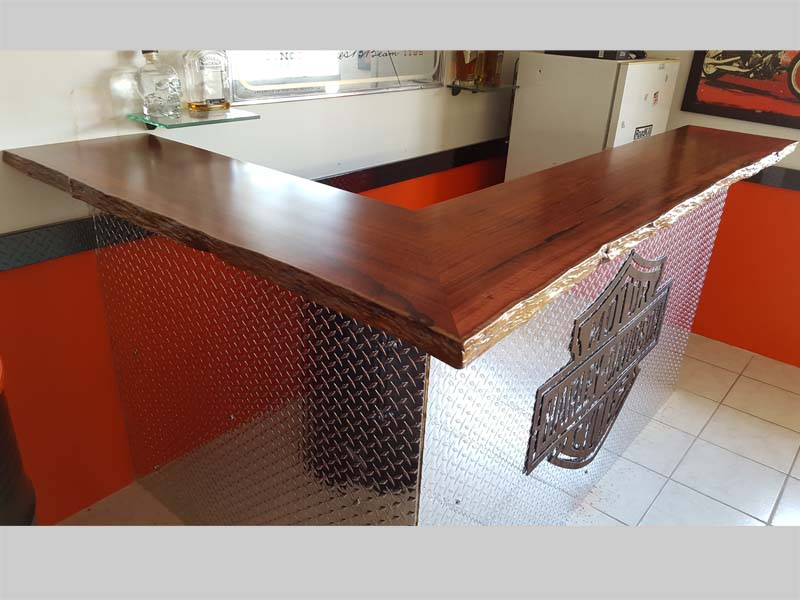 Jarrah bar top for renovation - before and after