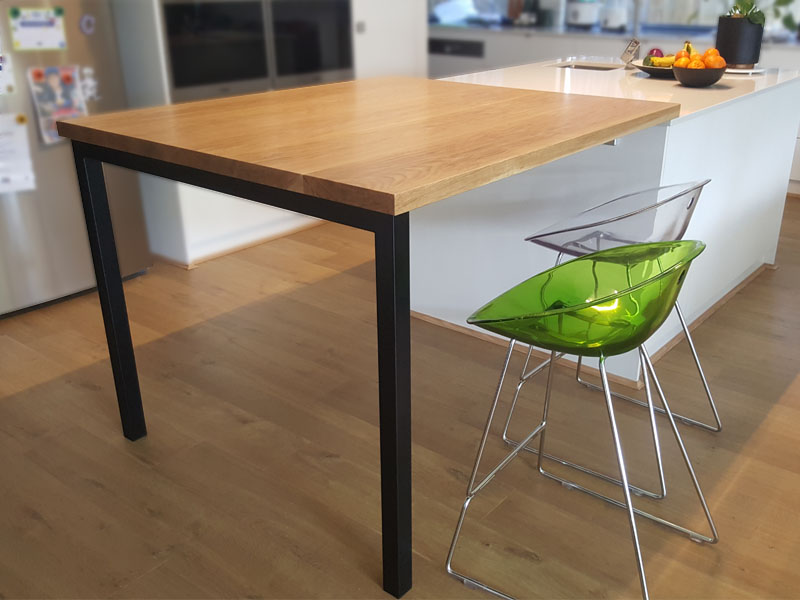 American Oak kitchen bench top extension for eating