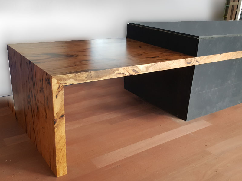 A thick 70mm Marri bench top extension for eating